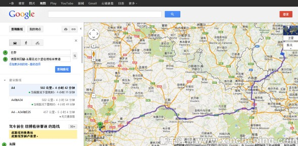 【Google网站的地图可以精确查询欧洲驾车的路线和里程数,强烈推荐