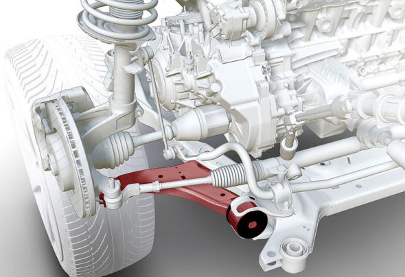 v8发动机是每排4个气缸按一定夹角构成,因而长度大致只是与直列5缸图片